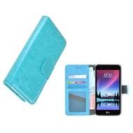 Wallet Bookcase Turquoise Portemonnee Hoesje voor LG K8 2017