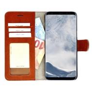 Pearlycase® Echt Lederen Wallet Bookcase Samsung Galaxy S8 Plus met de handgemaakte Bruin Leren Telefoonhoesje