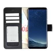 Pearlycase® Echt Lederen Wallet Bookcase Samsung Galaxy S8 met de handgemaakte Zwart Leren Telefoonhoesje