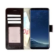 Pearlycase® Echt Lederen Wallet Bookcase Samsung Galaxy S8 met de handgemaakte Donkerbruin Leren Telefoonhoesje