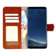 Pearlycase® Echt Lederen Wallet Bookcase Samsung Galaxy S8 met de handgemaakte Bruin Leren Telefoonhoesje