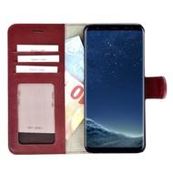 Pearlycase® Echt Lederen Wallet Bookcase Samsung Galaxy S8 met de handgemaakte Bordeauxrood Leren Telefoonhoesje