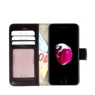 Pearlycase® Echt Lederen Wallet Bookcase Apple iPhone 7 met de handgemaakte Donkerbruin Leren Telefoonhoesje
