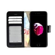Pearlycase® Echt Lederen Wallet Bookcase Apple iPhone 7 Plus met de handgemaakte Zwart Leren Telefoonhoesje