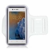 Wit Sportarmband Hardloopband voor Nokia 3