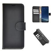 Echt Lederen Wallet Bookcase Pearlycase® Handmade Effen Zwart Hoesje voor Samsung Galaxy S8