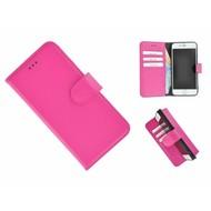 Echt Lederen Wallet Bookcase Pearlycase® Handmade Effen Roze Hoesje voor Apple iPhone 6/6S