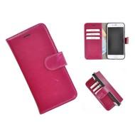 Echt Lederen Wallet Bookcase Pearlycase® Handmade Effen Fuchsia Hoesje voor Apple iPhone 7