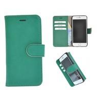 Echt Lederen Wallet Bookcase Pearlycase® Handmade Effen Groen Hoesje voor Apple iPhone 6/6S