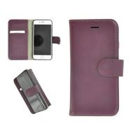 Pearlycase® Echt Leder Wallet Bookcase iPhone 6/6S Effen Paars Hoesje