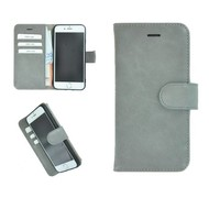 Pearlycase® Echt Leder Wallet Bookcase iPhone 6/6S Effen Lichtgrijs Hoesje