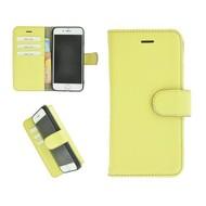 Pearlycase® Echt Leder Wallet Bookcase iPhone 6/6S Geel Effen Hoesje