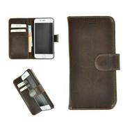 Pearlycase® Echt Leder Wallet Bookcase iPhone 6/6S Donkerbruin Effen Hoesje