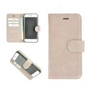 Pearlycase® Echt Leder Wallet Bookcase iPhone 6/6S Oudroze Effen Hoesje