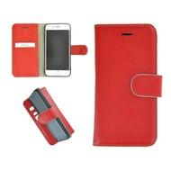 Pearlycase® Echt Leder Wallet Bookcase iPhone 7 Plus Hoesje Effen Rood
