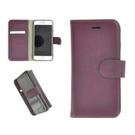 Pearlycase® Echt Leder Wallet Bookcase iPhone 7 Plus Hoesje Effen Paars
