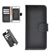 Pearlycase® Echt Leder Wallet Bookcase iPhone 7 Plus Hoesje Effen Zwart