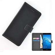 Wallet Bookcase Effen Zwart Hoesje voor Huawei Y7 Prime