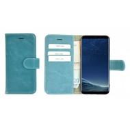 Pearlycase® Turquoise Effen Wallet Bookcase Echt Leren Samsung Galaxy S8 Hoesje