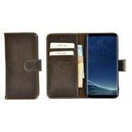 Pearlycase® Donkerbruin Effen Wallet Bookcase Echt Leren Samsung Galaxy S8 Hoesje