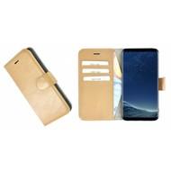 Pearlycase® Camelbruin Effen Wallet Bookcase Echt Leren Samsung Galaxy S8 Hoesje