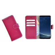 Pearlycase® Fuchsia Effen Wallet Bookcase Echt Leren Samsung Galaxy S8 Hoesje