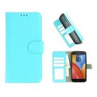 Turquoise Wallet Bookcase Fashion Hoesje voor Motorola Moto E4 Plus