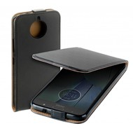 Zwart eco flipcase cover puleder Motorola Moto G5S hoesje