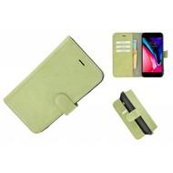 Pearlycase® Echt Leder Wallet Bookcase iPhone 7 Plus Groenbeige hoesje