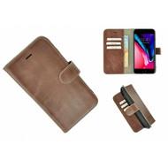 Pearlycase® Echt Leder Wallet Bookcase iPhone 7 Plus Bruin hoesje