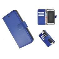 Pearlycase® Wallet Bookcase iPhone 8 Plus Echt Leder Blauw Hoesje