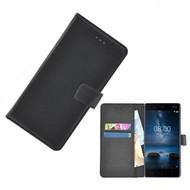 Zwart effen Wallet Bookcase Nokia 8 Hoesje