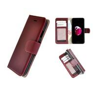 Pearlycase® Echt Leer Handmade iPhone 8 Plus Wallet Bookcase Bordeauxrood