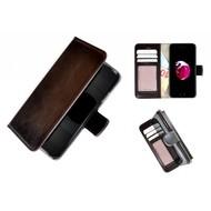Pearlycase® Echt Leer Handmade iPhone 8 Plus Wallet Bookcase Donkerbruin