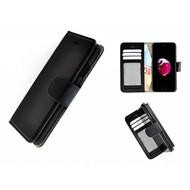 Pearlycase® Echt Leer Handmade iPhone 8 Plus Wallet Bookcase Zwart