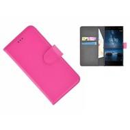 Roze effen Wallet Bookcase Nokia 8 Hoesje