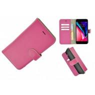 Pearlycase® Wallet Bookcase iPhone 8 Echt Leder Roze Hoesje