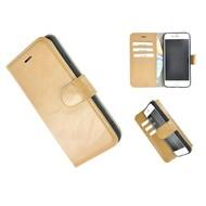 Pearlycase® Wallet Bookcase iPhone 8 Echt Leder Camelbruin Hoesje