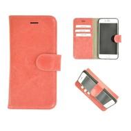 Pearlycase® Wallet Bookcase iPhone 8 Echt Leder Zalmroze Hoesje