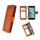 Luxe iPhone 6/6S Wallet Bookcase Echt Leer Hoesje - Lichtbruin