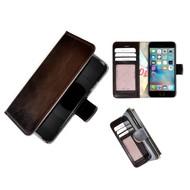 Luxe iPhone 7 Wallet Bookcase Echt Leer Hoesje - Donkerbruin