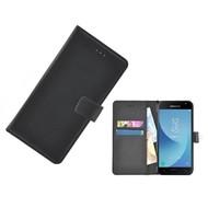 Zwart Effen Wallet Bookcase Hoesje Samsung Galaxy J3 2017