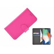 Roze effen Wallet Bookcase iPhone X