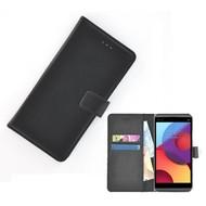 Zwart effen Wallet Bookcase Hoesje voor LG Q8