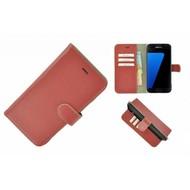 Pearlycase® Echt Leer Bookcase Samsung Galaxy S7 - Oxyderood Effen