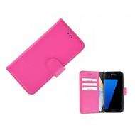 Pearlycase® Echt Leer Bookcase Samsung Galaxy S7 - Roze Effen