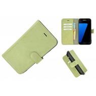 Pearlycase® Echt Leer Bookcase Samsung Galaxy S7 - Groenbeige Effen