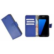 Pearlycase® Echt Leer Bookcase Samsung Galaxy S7 - Donkerblauw Effen