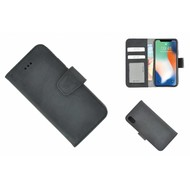 Pearlycase® Echt Leder Zwart Bookcase voor Apple iPhone X met kaarthouders