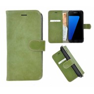 Pearlycase® Echt Leer Bookcase Samsung Galaxy S7 Edge - Groen